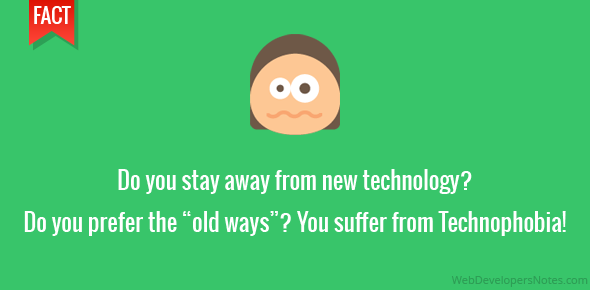 "Do you stay away from new technology? Do you prefer the ""old ways""? You suffer from Technophobia!"