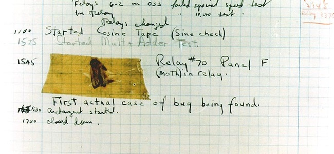 The first computer bug - a moth trapped in the relay of the Harvard Mark II computer