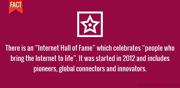 "There is an ""Internet Hall of Fame"" which celebrates ""people who bring the Internet to life"". It was started in 2012 and includes pioneers, global connectors and innovators."