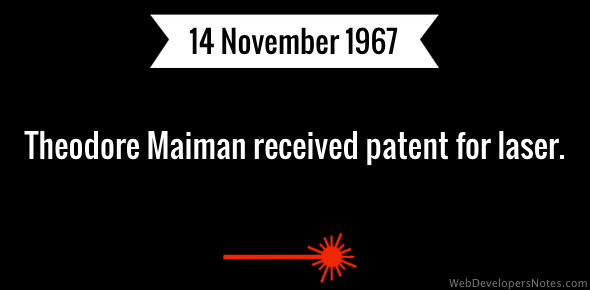 Theodore Maiman received patent for laser