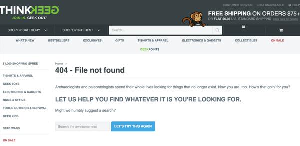 Thinkgeek error page