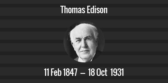 Thomas Edison Death Anniversary - 18 October 1931
