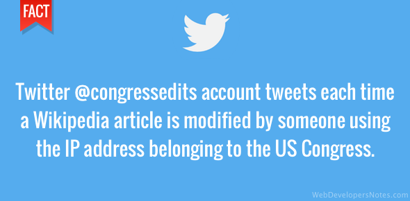 Twitter account tweets when change is made to Wikipedia by US Congress IP