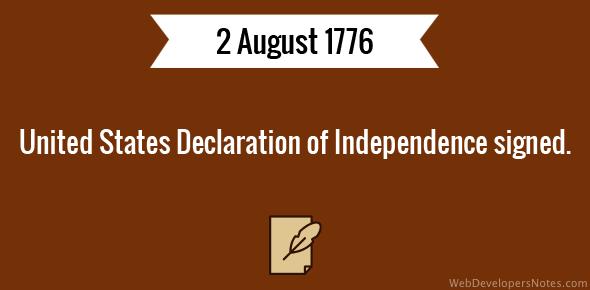 United States Declaration of Independence signed