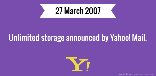 Unlimited storage announced by Yahoo! Mail.