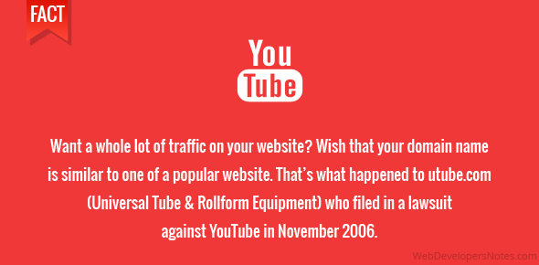 Want a whole lot of traffic on your website? Wish that your domain name is similar to one of a popular website. That's what happened to utube.com (Universal Tube & Rollform Equipment) who filed in a lawsuit against YouTube in November 2006.