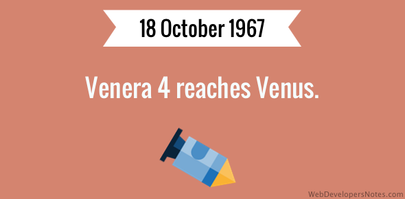 Venera 4 reaches Venus