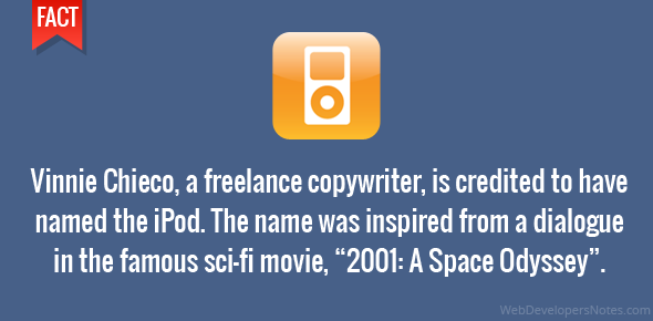 "Vinnie Chieco, a freelance copywriter, is credited to have named the iPod. The name was inspired from a dialogue in the famous sci-fi movie, ""2001: A Space Odyssey""."