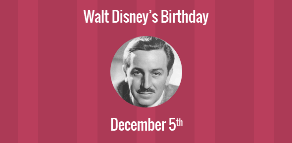 Birthday Of Walt Disney American Film Producer Entrepreneur And Co