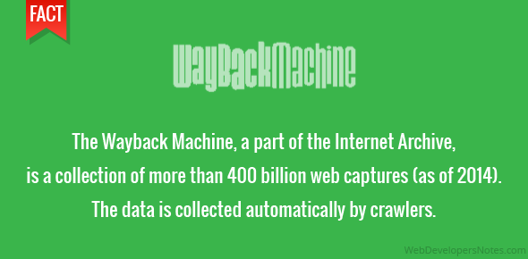 The Wayback Machine, a part of the Internet Archive, is a collection of more than 400 billion web captures (as of 2014). The data is collected automatically by crawlers.