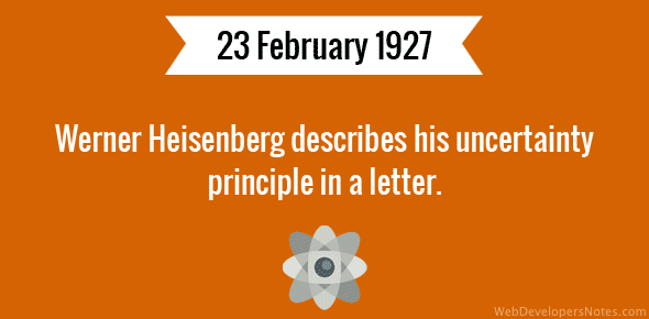 Werner Heisenberg describes his uncertainty principle in a letter.