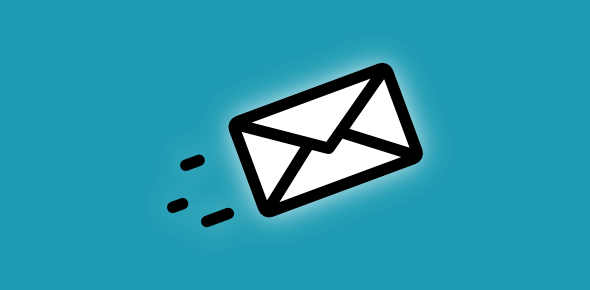 Email envelop flying away