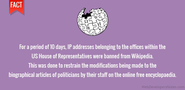 For a period of 10 days, IP addresses belonging to the offices within the US House of Representatives were banned from Wikipedia. This was done to restrain the modifications being made to the biographical articles of politicians by their staff on the online free encyclopaedia.