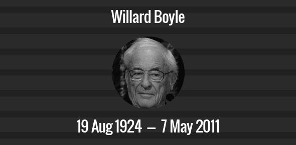 Willard Boyle Death Anniversary - 7 May 2011
