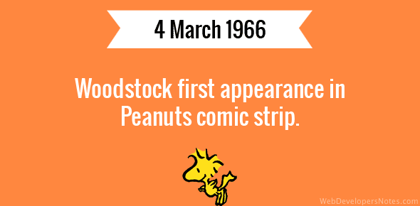 Woodstock first appearance in Peanuts comic strip.