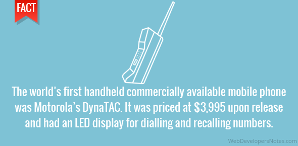 The world's first handheld commercially available mobile phone was Motorola's DynaTAC. It was priced at $3,995 upon release and had an LED display for dialling and recalling numbers.
