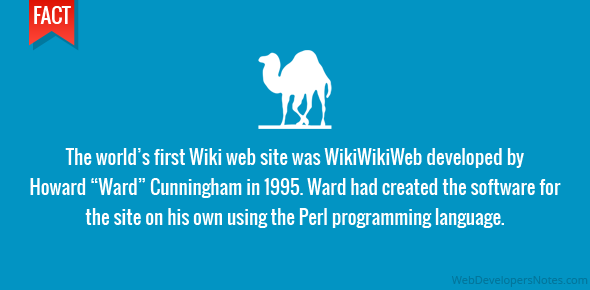 """The world's first Wiki web site was WikiWikiWeb developed by Howard """"Ward"""" Cunningham in 1995. Ward had created the software for the site on his own using the Perl programming language."""