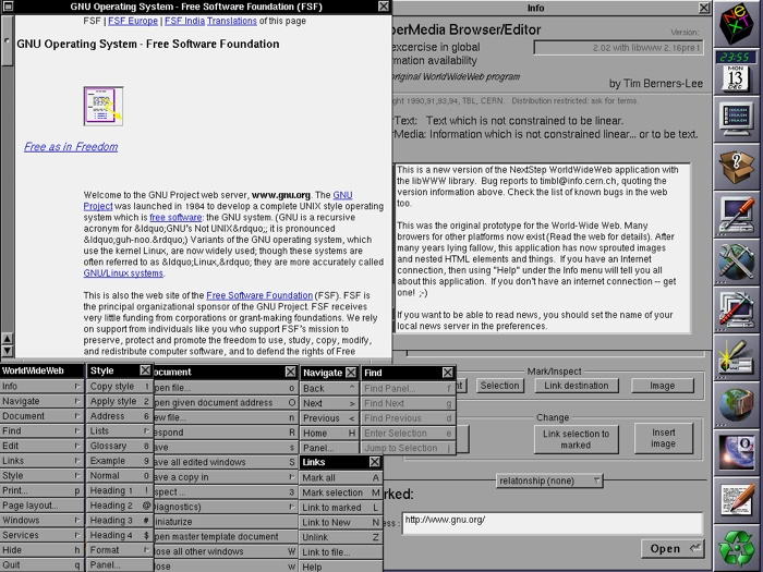 Screenshot of WorldWideWeb, the world's first web browser