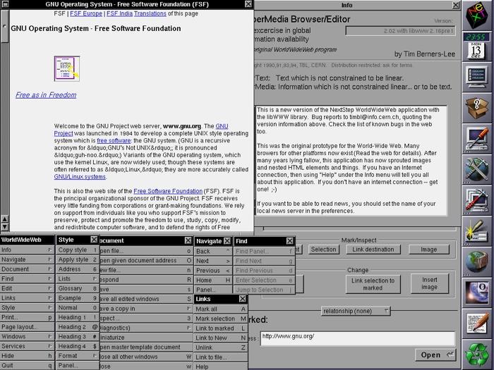 Screenshot of WorldWideWeb, the world's first web browser
