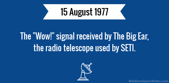 """The """"Wow!"""" signal received by The Big Ear, the radio telescope used by SETI."""
