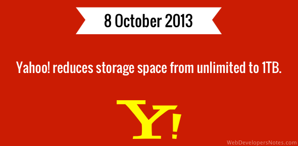 Yahoo! reduces storage space from unlimited to 1TB