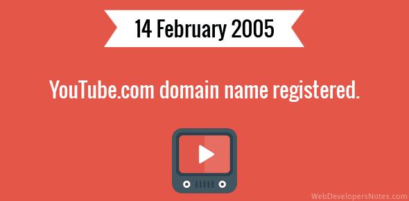YouTube.com domain name registered.