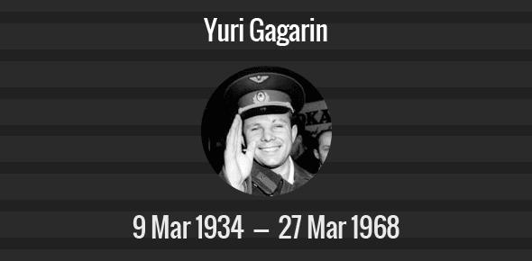 Yuri Gagarin Death Anniversary - 27 March 1968